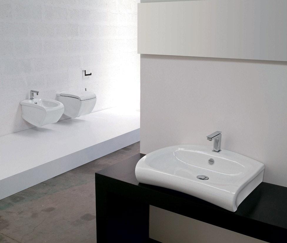 Hi line lavabo appoggio sospeso ceramiche addeo - Lavabo sospeso ...