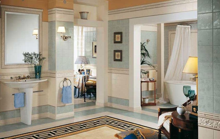15 15 royal azzurro e bianco ceramiche addeo for Mobili versace prezzi
