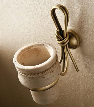 1851 bicchiere nodo bronzo travertino